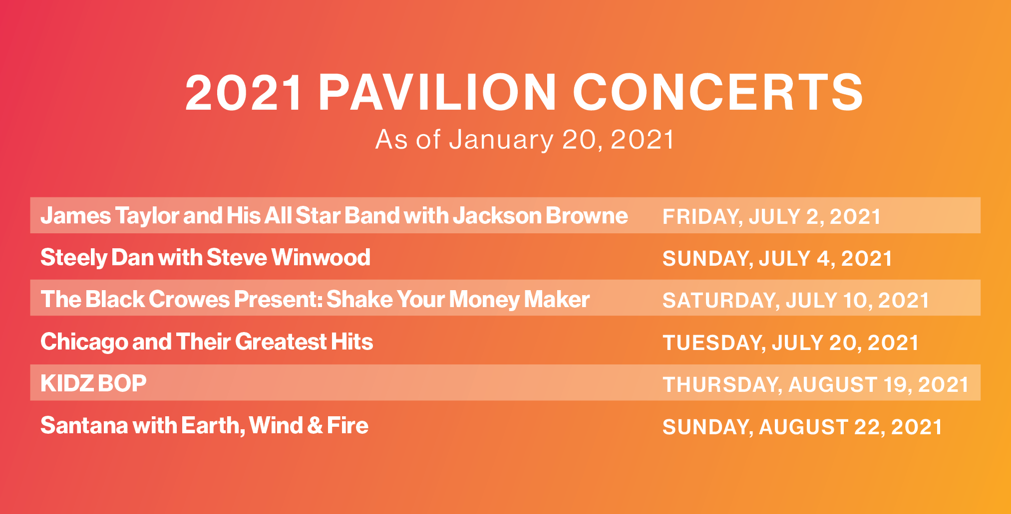 2021 pavilion season for bethel woods center for the arts