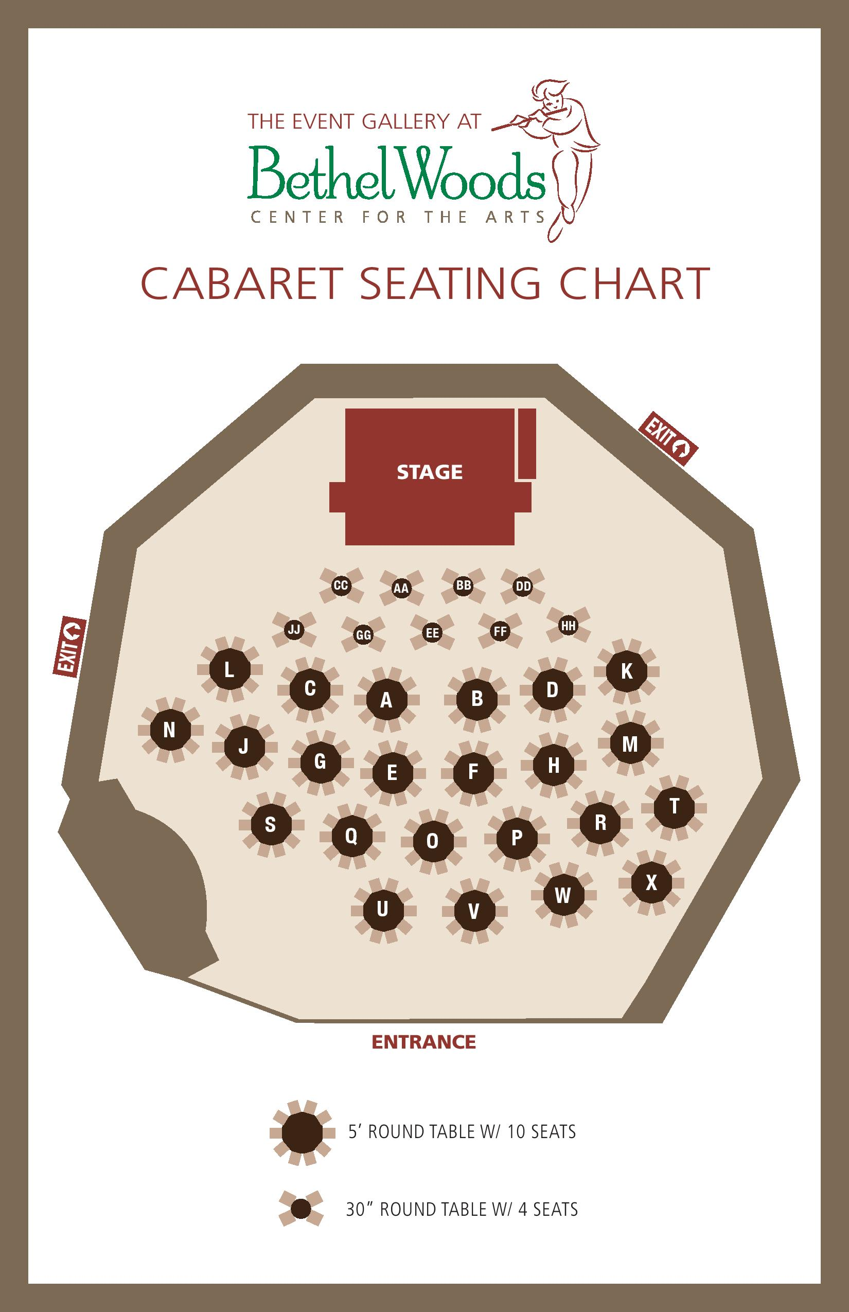 Carabet event seating chart at Bethel Woods