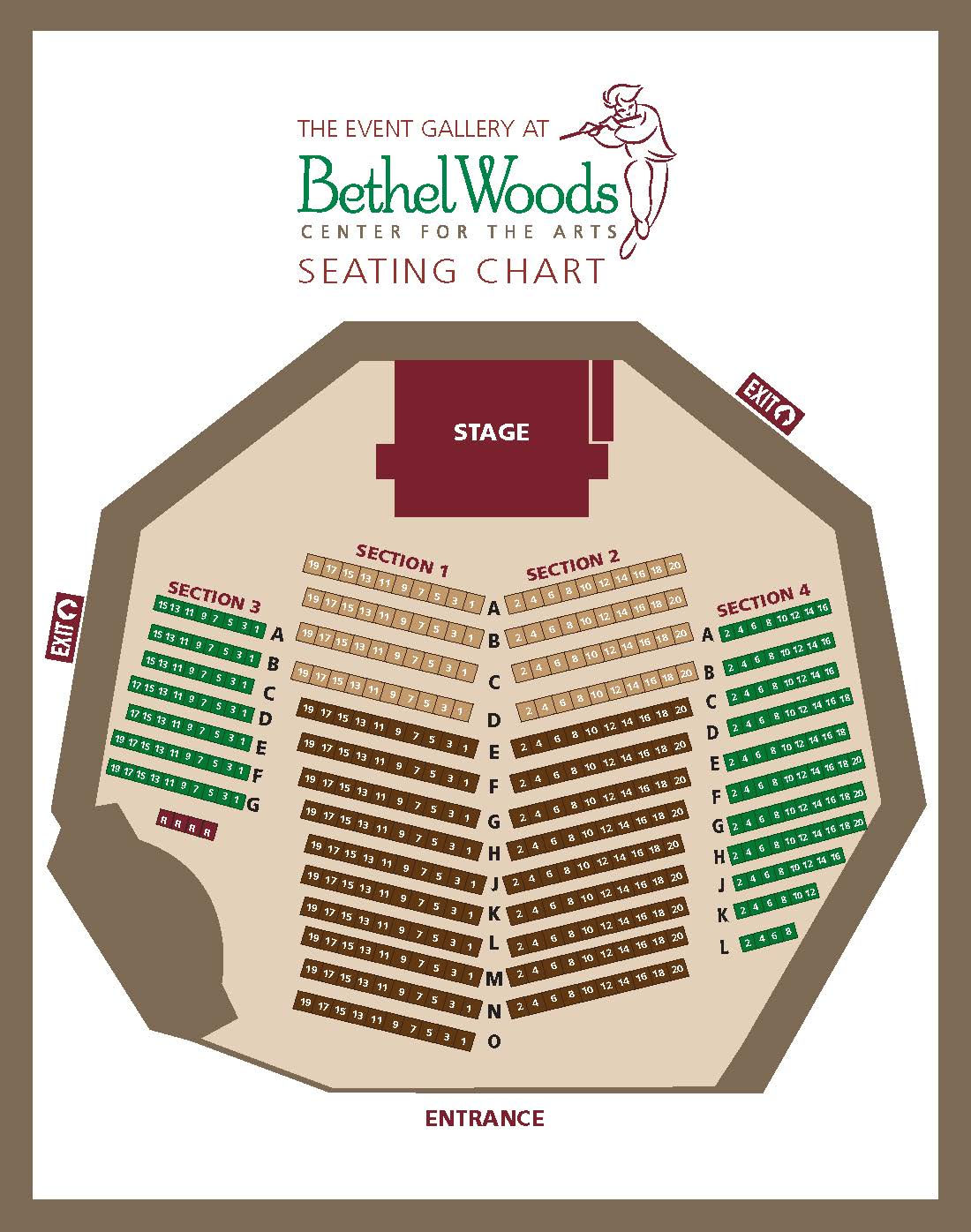 Event Gallery at Bethel Woods seating chart