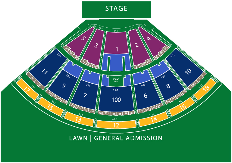 Pavilion stage seating chart at Bethel Woods Center for the Arts