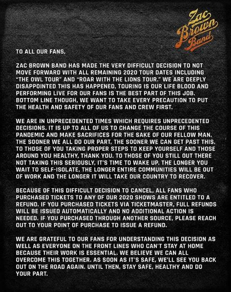 cancellation note from zac brown band