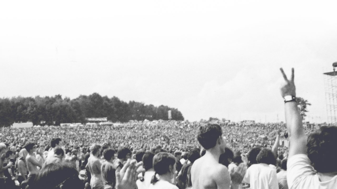 black & white picture from Woodstock Festival