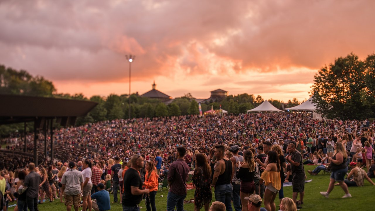 concert at Bethel Woods with pretty pink sky