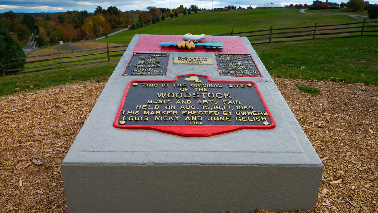Woodstock monument at Bethel Woods Center for the Arts
