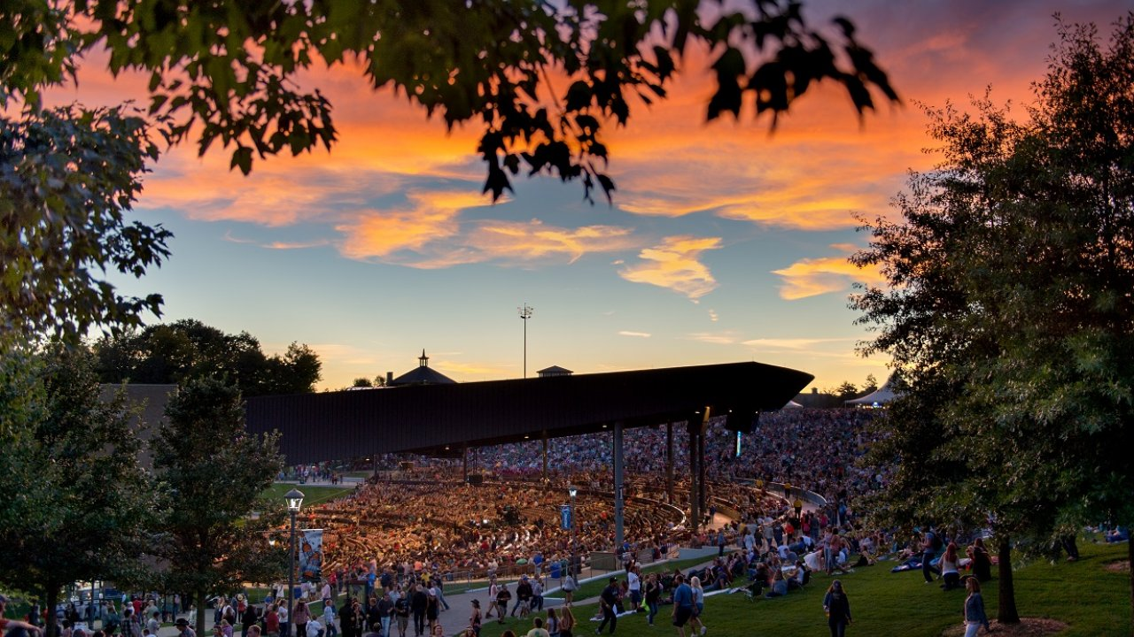 concert with pretty evening sky at Bethel Woods