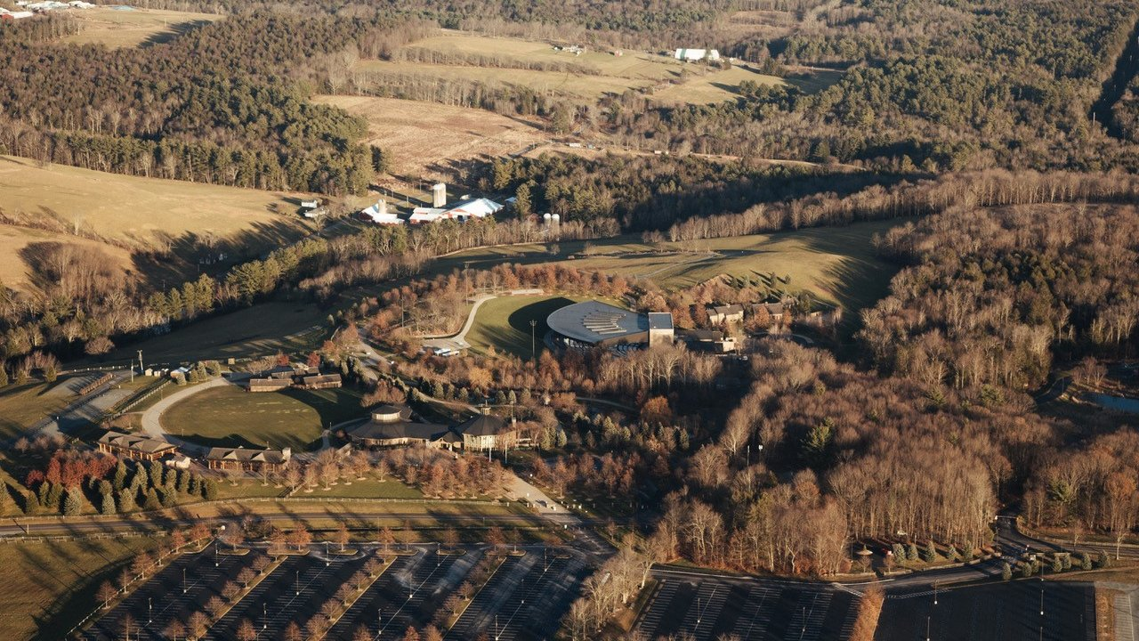 aerial shot of bethel woods