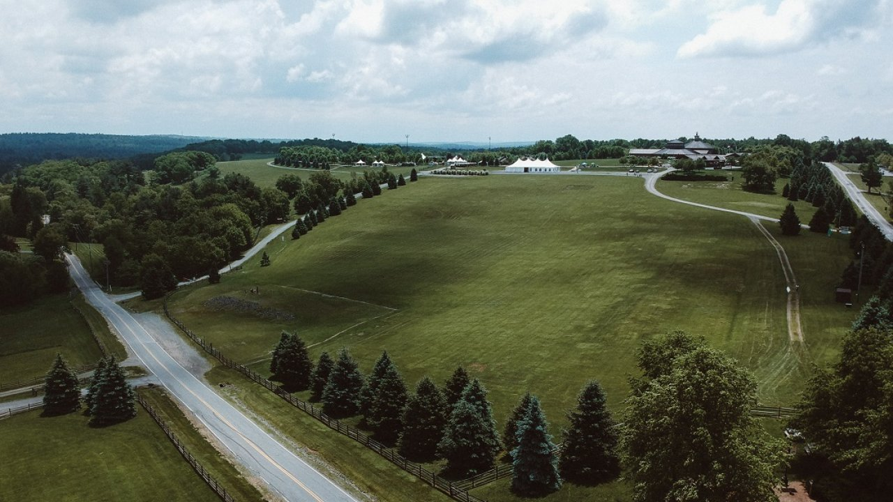 drone view of Bethel Woods grounds