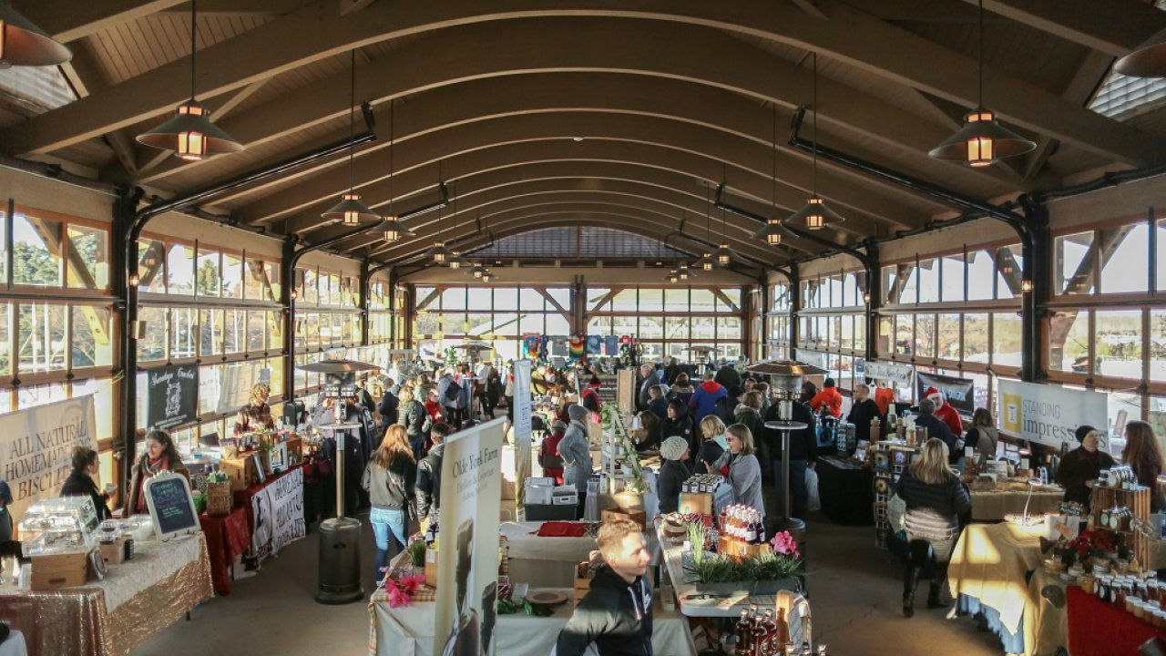 long shot of market shed for holiday market