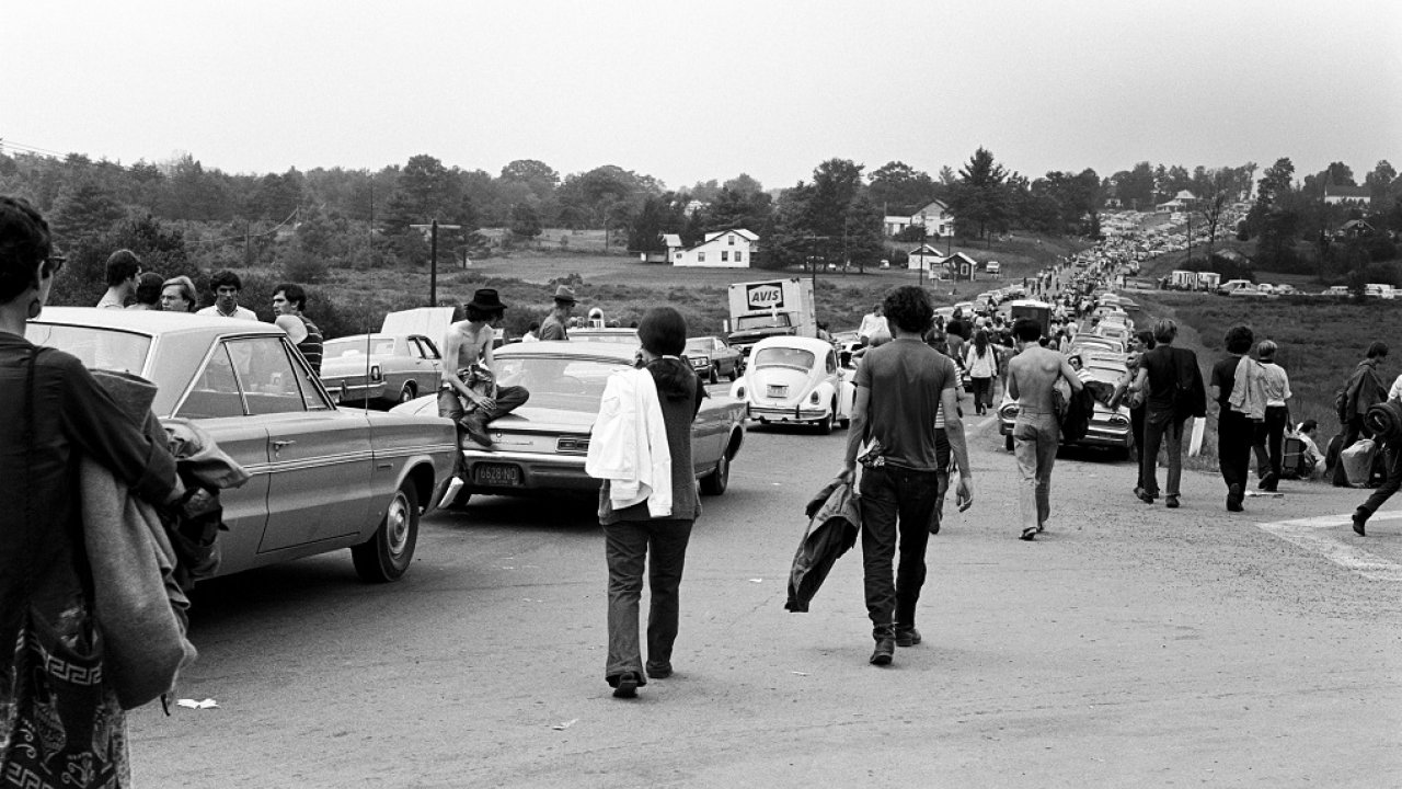 Woodstock attendees on their way to festival