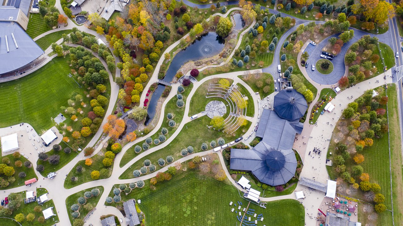 aerial of bethel woods in the fall
