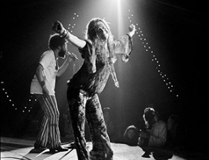 Janis Joplin performing at Woodstock