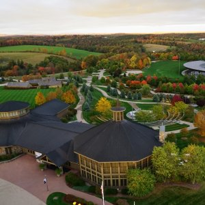 aerial shot of Bethel Woods Center for the Arts