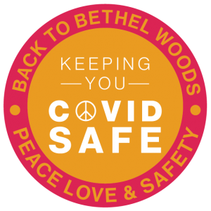button that says keeping you covid safe at bethel woods