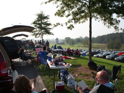 people tailgating in the Bethel Woods parking lot
