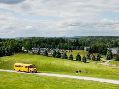 Big V Park & Ride bus tranporting Bethel Woods visitors