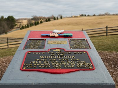 monument overlooking historic festival field at bethel woods